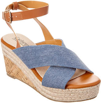 Catherine Malandrino Newvon Leather-Trim Wedge Sandal
