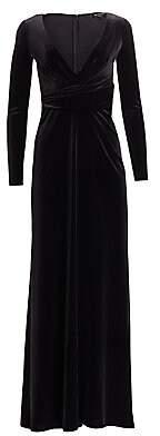 Emporio Armani Women's Plunge Neck Velvet Gown