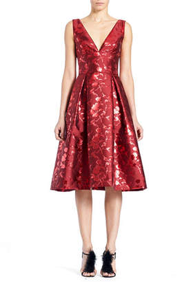 Carolina Herrera Sleeveless V-Neck Floral-Jacquard Cocktail Dress