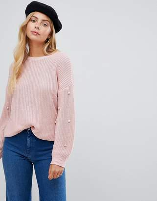 Only Mella Pearl Sleeve Sweater