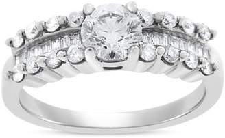 14k White Gold 1.07 Ct. Natural Diamond Cluster Engagement Ring Size 7