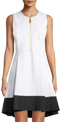 Donna Karan Colorblocked Zip-Front Fit-&-Flare Dress