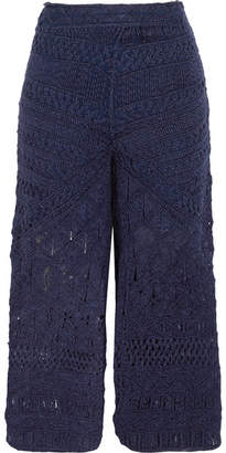 Tabula Rasa - Sahara Macramé Silk And Cotton-blend Culottes - Midnight blue