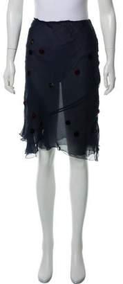 Alberta Ferretti Velvet-Accented Silk Knee-Length Skirt