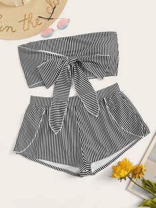 Shein Plus Striped Knot Bandeau With Shorts 2piece Swim