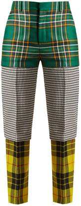 Panelled straight-leg wool trousers
