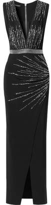 Balmain Crystal-embellished Ruched Stretch-crepe Gown - Black