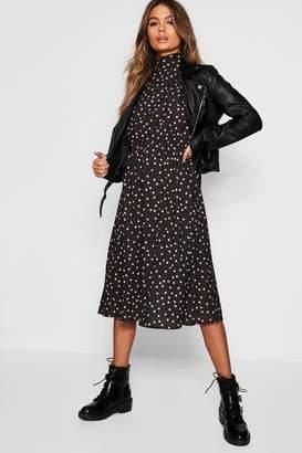 boohoo Polka Dot Asymmetric Hem Midi Dress