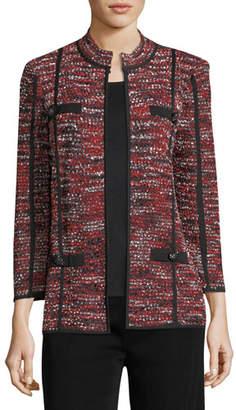 Misook Boucle Mandarin-Collar Jacket, Plus Size