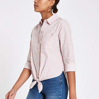 River Island Pink stripe tie front crop long sleeve shirt