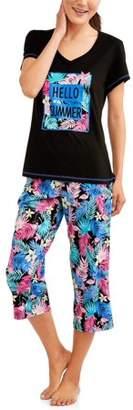 Secret Treasures Women's Pajama Tee and Capri Sleep Pant 2 Piece Sleepwear Set