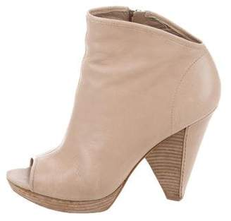 Sigerson Morrison Leather Peep-Toe Ankle Boots