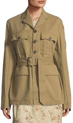 Ralph Lauren Collection Afton Button-Front Twill Safari Jacket