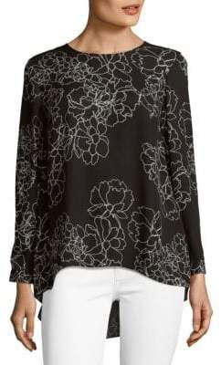 Vince Camuto Floral Long-Sleeve Hi-Lo Blouse