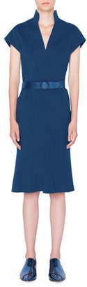 Akris Punto Belted V-Neck Shift Dress