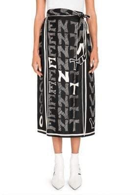 Valentino Women's V For Printed Silk Vented Midi Skirt - Black Ivory - Size 2