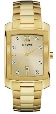 Bulova Men's Diamond Accent Gold-Tone Watch with Rectangle Dial