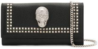 Philipp Plein crystal skull clutch