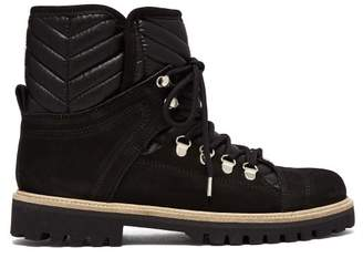 Ganni Edna Shearling Lined Suede Boots - Womens - Black