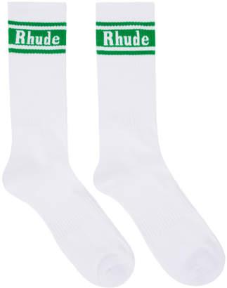Rhude White and Green Logo Socks
