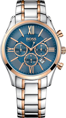 HUGO BOSS 1513321 ambassador rose-gold stainless steel watch $395 thestylecure.com