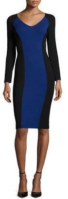 Armani Collezioni Long-Sleeve Colorblock Sheath Dress, Black/Bluette $1,395 thestylecure.com