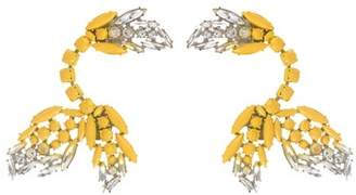 Marni Painted Crystal Clip On Ear Cuffs - Womens - Yellow Silver