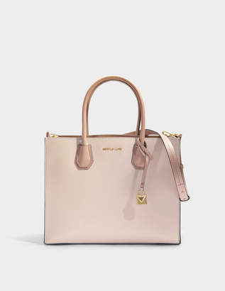 MICHAEL Michael Kors Mercer Large Convertible Tote Bag in Pink Grained Leather