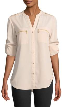 Iconic American Designer Button-Front Blouse with Zipper Pockets