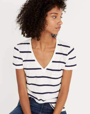 Madewell Whisper Cotton V-Neck Pocket Tee in Creston Stripe