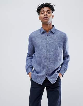 Jack Wills Jaywick Solid Linen Shirt in Blue