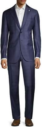 Lubiam Modern-Fit Windowpane Wool Suit