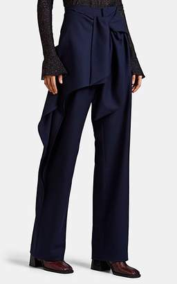 Chloé Women's Wool Flannel Tie-Waist Pants - Navy