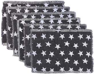 Americana Ashton & Willow Navy Blue Tabletop Kitchen Multi Star Cotton Stenciled Casement Star Rectangle Placemat Set of 6