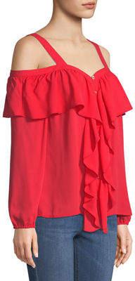 MICHAEL Michael Kors Cold-Shoulder Chiffon Button-Front Chiffon Blouse