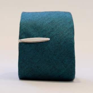 Blade + Blue Vintage Silver Tone Ellipse-Shaped Tie Clip