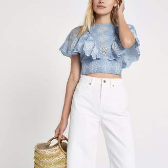River Island Womens Blue broidery tie back crop top