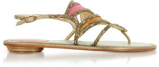 Rene Caovilla Kandinsky Satin and Metallic Light Gold Flat Sandals w/Strass
