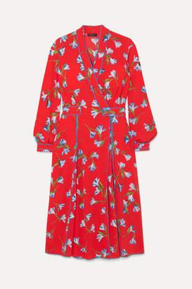 Rag & Bone Hugo Floral-print Crepe De Chine Wrap Dress - Red