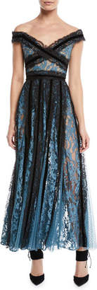 Elie Saab Off-the-Shoulder Mixed-Lace Evening Gown