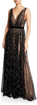 J. Mendel Sleeveless Embroidered Lace V-Neck Gown