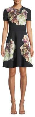 Black Halo Kaitlyn Short-Sleeve Floral-Print Full Skirt Dress