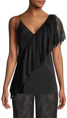 Diane von Furstenberg Women's Asymmetrical Ruffle Lace Camisole