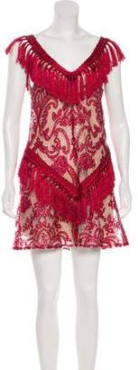 Alexis Fringe-Trimmed Lace Dress