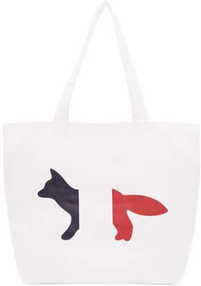 MAISON KITSUNÉ White Tricolor Fox Tote