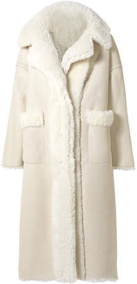 Oscar de la Renta Oversized Reversible Shearling Coat - Cream