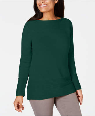 Karen Scott Cotton Boat-Neck Sweater