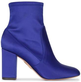 Aquazzura Blue so me 85 Satin ankle boots