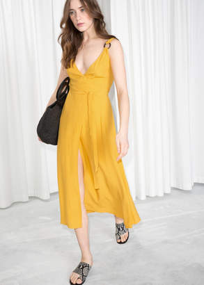 And other stories Tortoise O-Ring Wrap Midi Dress