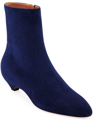Alaia Covered-Heel Suede Booties